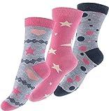 Lot de 6 paires de socquettes pour fille - design: Design: astérisque, point, coeur -multicolore - fille - taille 27-23