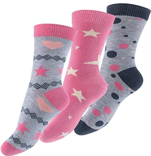 Lot de 6 paires de socquettes pour fille - design: Design: astérisque, point, coeur -multicolore - fille - taille 23-26