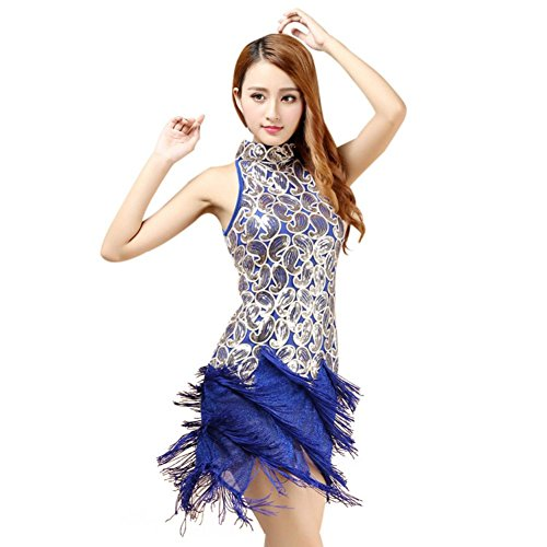 Brightup Dame Competition Dancewear Latin Quaste Sequins Kleid Samba Rumba Tango (Skirt Feather Tanzen Kostüm)