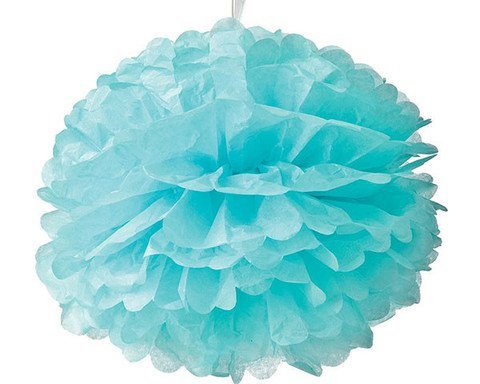 issue Paper Flower Pom Poms (10, 3 Pack) - Artificial Paper Party Puff Balls, Aqua Blue Ceiling Hanging Baby Shower Supplies, Destination Beach Wedding Party Decorations by
