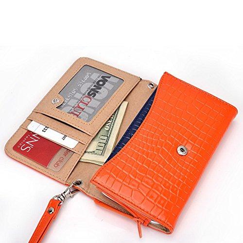 Kroo universel pour smartphone avec bracelet croco Étui portefeuille pour Asus ZenFone 4/Padfone Mobile noir - noir Orange - orange