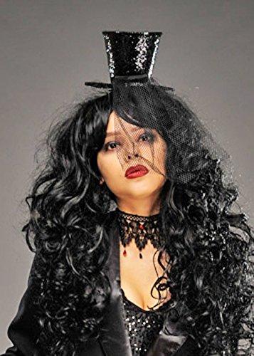 Sombrero superior del brillo negro burlesco gótico de las mujeres