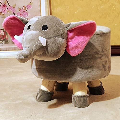 Pequeño Taburete Otomana,niños Lindo Acolchado Animal Baúl Rígida De Salón Asiento De Cambio De Zapato Asiento Lavable-Elefante 29x26cm(11x10inch)