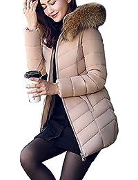 Arkind Manteau Hiver Femme Jacket Elegant Uni Zip Long Veste à Capuche Fourrure Fausse Chaud Doudoune Coat Blouson Parka Veston Hoodie