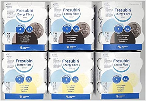 24x 200ml Fresubin Energy Fibre DRINK 2 Sorten - MISCHKARTON 12x Schokolade / 12x Vanille - im exclusiven ConsuMed