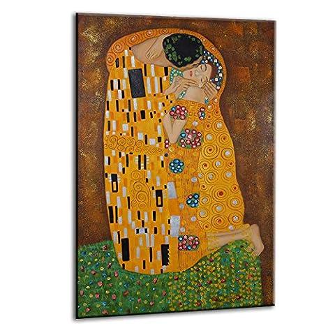 Raybre Art® 60 x 90 cm Toile Peintures à l'huile 100% Peinte à la main - Reproduction Gustav Klimt Le Baiser - Vienna Secession Tableaux Modernes Abstraites pour Art Murales Décoration Salle Chambre Cuisine, Sans cadre