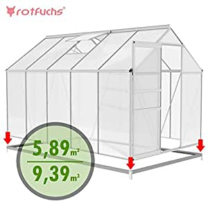 Rotfuchs Aluminium Greenhouse with Base, Greenhouse Cold
