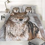 Wolf - Juego de funda de edredón y funda de almohada