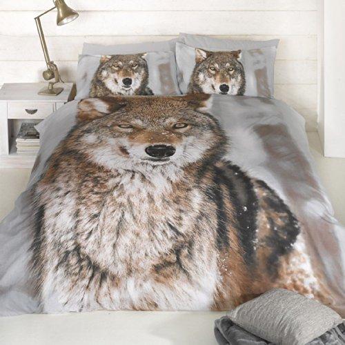 Rapport Bericht Wolf Design Doppel Bettbezug und Kissenbezüge