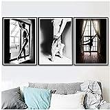 nobrand Schwarz-Weiß Elegantes Balletttanz-Poster, Foto, nordischer Stil, Mädchen-Portraitbild, Wandkunst, Heimdekoration, Leinwand, Gemälde, 60 x 80 cm, ohne Rahmen