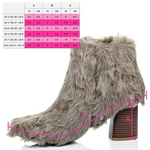 SPYLOVEBUY DRAGOON Femmes Fourrure Synthétique à Talon Bloc Bottines Chaussures Brun