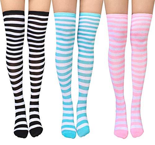 gestreifte Socken über Knie Oberschenkel Hohe Socken Strümpfe ()