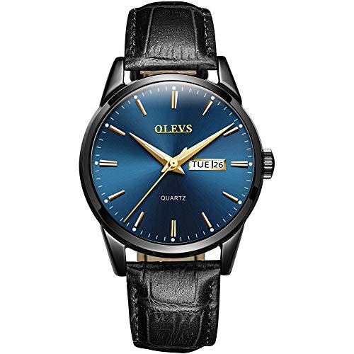 Xinxie Doppelter Kalender Neuheiten Quarz Paar Uhr Lederarmband wasserdichte Uhr,blue1