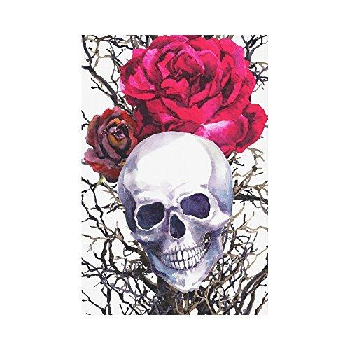 interestprint Menschlicher Schädel mit Rose Blume Polyester Garten Flagge House Banner 30,5x 45,7cm, Aquarell Spooky Halloween Deko Flagge für Party Yard Home Outdoor Decor (Halloween-baum Spooky)