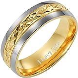 New Mens Two Tone 7mm Titanium Ring Engraved I Love You In Velvet Ring Box