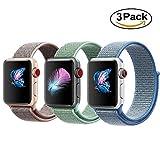 Tervoka Für Apple Watch Armband 42mm(44mm Series 4), Gewobenes Nylon Sport Schlaufe Handgelenk Uhrband Ersatz Armreif Uhrenarmband für iWatch Apple Watch 42mm 44mm Series 4/3/2/1, 3Pack A