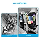 2 PCs OMORC Car Backseat Organizer with iPad Tablet Touch Screen Holder, Multi-Pocket for Bottles, Tissue Boxes, Kids Toy Storage and Great Travel Accessory for Kids, Kick Mat Seat Back Protector, Black