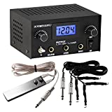 TattooStar Dual Digital Tattoo Power Supply with Foot Pedal and 2 Clip Cords (Black Colour, OTW-P008-3.1)