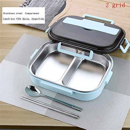 iHouse Brotdose Lunchbox aus Edelstahl + Isolierverpackung, versiegeltes, auslaufsicheres Geschirr, tragbares Fach, Lebensmittelbehälter für Erwachsene, 1,2 l, 26,5 x 20,2 x 7,3 cm, 2 Gitter, blau -