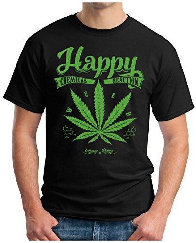 OM3 - HAPPY-WEED - T-Shirt CHEMICAL REACTION LEGALIZE CANNABIS SMOKE KUSH MUSIC WEED GEEK, L, Schwarz (420 T-shirts Weed Bedruckte)