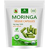 Moringa 1000 Oleifera VEGI Kapseln hochdosiert 600mg - 100% Vegane Rohkost von MoriVeda (1x1000 Big Bag)