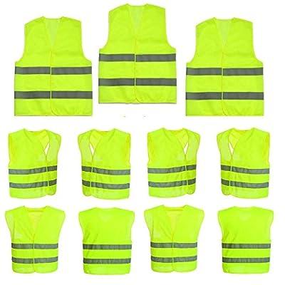50 Stück Warnweste Pannenweste Sicherheitsweste Neon Gelb Warnwesten Unfall-Weste 360-Grad-Sichtbarkeit Prowiste® Knitterfrei, Waschbar - Sicherheit-weste Weste KFZ EN 471