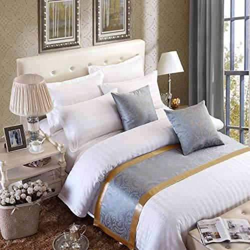 Osvino runner da letto copriletto elegante doppio tessuto miscelato corridore liscio lussuoso classico antico per alberghi camere letti, grigio dorato 240x50cm pour 180cm lit