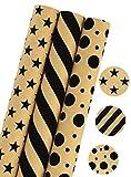 LaRibbons Papel de Regalo - 75 pies Cuadrados - Stars / Stripes / Dots Print - Sold 3Pcs