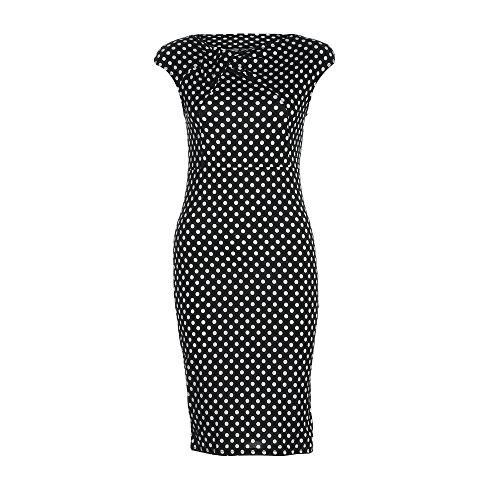 Longra Donna Vestito corto dal manicotto sottile di Polka di grande formato Nero
