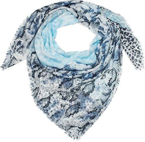styleBREAKER pañuelo cuadrado XXL de mujer con motivo estampado de leopardo, serpiente y palmeras con aplicación de estrás y deshilachados, chal, pañuelo 01016188, color:Azul claro-Azul oscuro