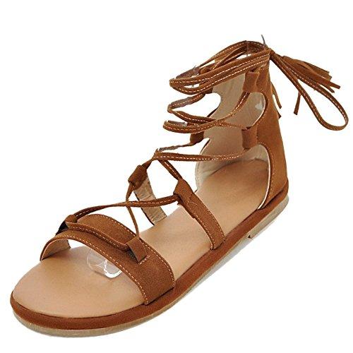 TAOFFEN Classique Gladiateur Ete Sandales Lacets Plat Plage Chaussures Marron