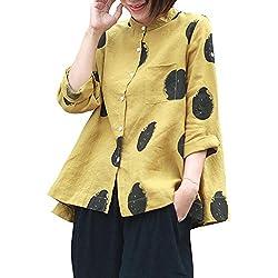 VJGOAL otoño de Las Mujeres de Talla Grande Cuello de Moda de Manga Larga botón Bolsillo Casual Tops Camisa Suelta Blusa(2XL,Amarillo)