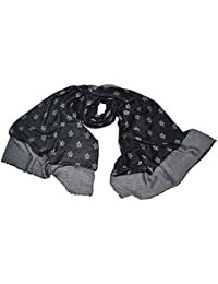 Luxury large Super soft silky weave flower pattern shawl charcoal