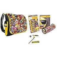Emoji Die Cut Note, Pencil Case and Stationery Set and Emoji Messenger Shoulder Bag