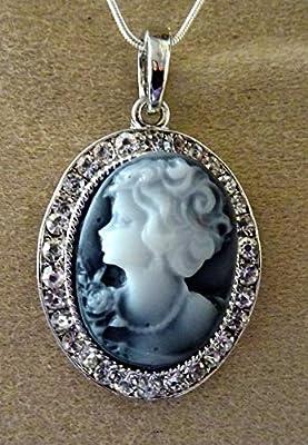 pendentif camée strassé mademoiselle jeanne argenté