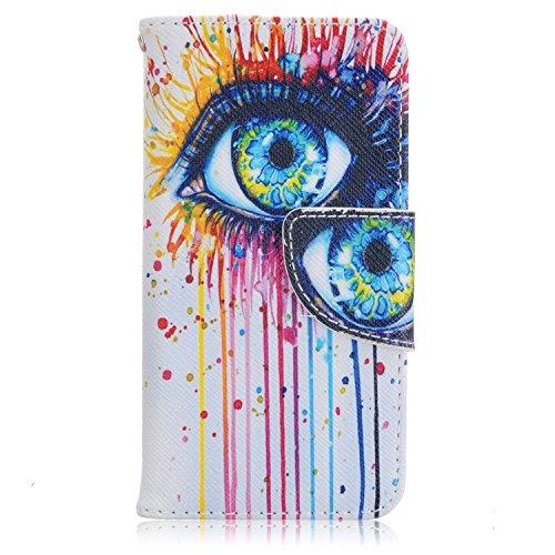 Voguecase® Pour IPhone SE Coque, Etui Housse Cuir Portefeuille Case Cover (papillon coloré 07)de Gratuit stylet l'écran aléatoire universelle gros yeux
