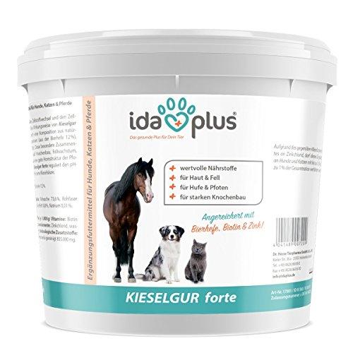 Ida Plus - Kieselgur Forte 2 kg - Silizium + Bierhefe, Biotin und Zink - Wertvolle Nährstoffe für Tiere - Hunde, Katzen, Pferde & Kleintiere | Für Starke Zähne und Knochen (100{e867b5bd6c241f6eb3f5a6ebb13b45f4c01059c171feac256498995da6969b2c} biologisch)