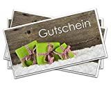 3 St. Weihnachtsgutscheine in Grün, DIN lang; Gutscheine Weihnachten für Kunden, Mitarbeiter oder Freunde; Einkaufsgutschein, Geschenkgutschein