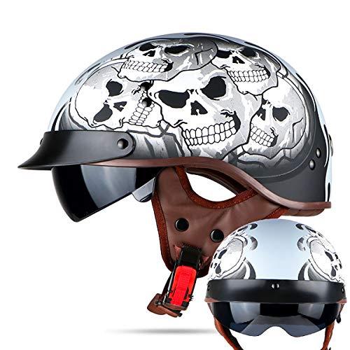 QSWSW Motorradhelm/Jet-Helm, halbschalenhelm mit ece DOT-Zertifizierung genehmigt Men and women Helm (L(58~59), Dark angel) -