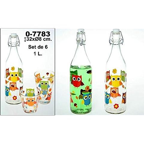 DonRegaloWeb - Set de 6 botellas de cristal y 1l de capacidad decoradas con búhos y múltiples