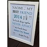 Marco de personalizable palabra 'mi mejor amigo amigo.. Búho' mejores amigos regalo de cumpleaños hecho a mano