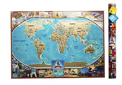 Rubbel-Weltkarte Vintage Edition - Persönliches Poster zum Rubbeln - Welt-Wandkarte