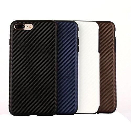 YAN Für iPhone 7 Plus Künstlerische Carbon Faser Texture Soft TPU Schutzmaßnahmen zurück Fall ( Color : Dark Blue ) Dark Blue