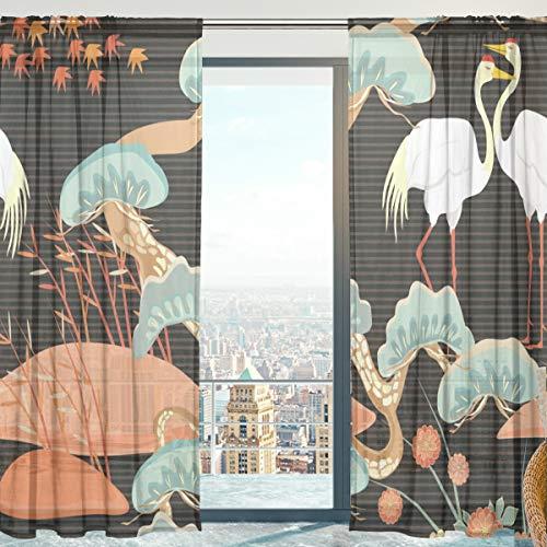 Mnsruu - Cortina de Gasa con diseño de pájaros japoneses para salón, Puerta, Ventana, 140 x 198 cm, 2 Paneles