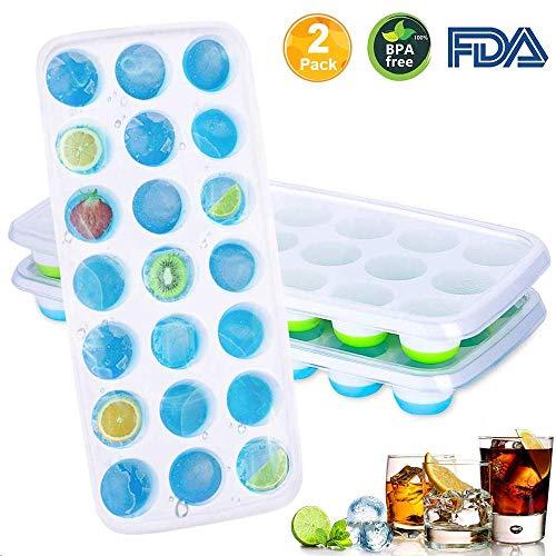 AMEU Eiswürfelform, Silikon Eiskugelform Eiswuerfelbehaelter mit Deckel Ice Cube Tray, Wiederverwendbar Eiswürfelschalen Eiswürfel Form, LFGB Zertifiziert, BPA FREI für Familie Partys, 21-Fach