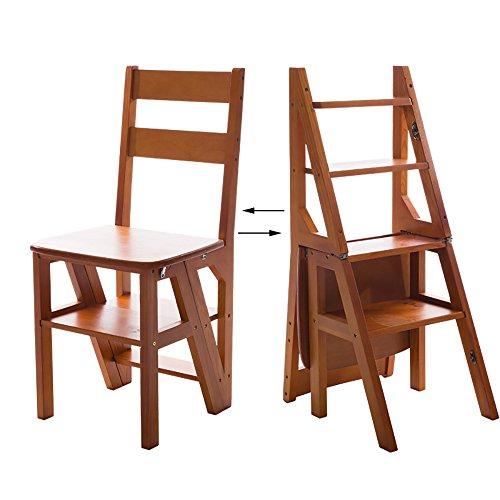 Multifunktion Tritt Hocker Aufsteigende Leiter Praktischer Stuhl Innen Mobil Blumenständer Regal (Farbe : Nussbaum)