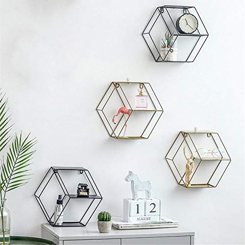 Sechseckiges geometrisches Eisengitter-Wandregal Mode-hängende Abbildung Dekoration für Wohnzimmer-Speicher-Rahmen-sich hin- und herbewegende Regale Anzeigen-Fach angebrachtes Metallgestell