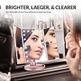 Easehold Make Up Mirror 1X/2X/3X Magnifying Light Up Mirror, Tri-fold Led Illuminated Tabletop Vanity Mirror with Lights, Touch Screen Dimming 180 Rotation (Rose Gold)