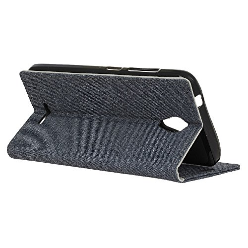 Retro Jeans Stoff Textur Bookstyle Folio Stand Case mit Kartensteckplätzen für WIKO Tommy 2 ( Color : Blue ) Black