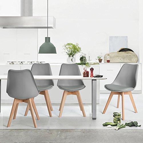 Naturelifestore 4er Set Esszimmerstühle mit Massivholz Buche Bein, Retro Design Gepolsterter lStuhl Küchenstuhl Holz,Grau (Küchenstuhl Retro)